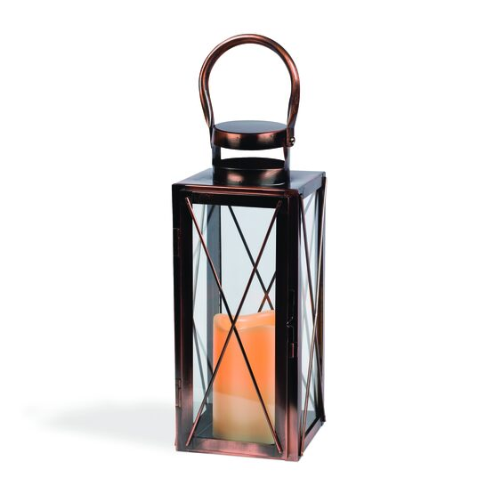 "12"" Copper Outdoor Candle Lantern"