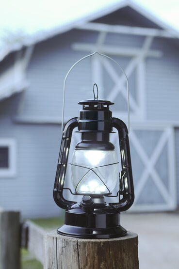 Black LED Hurricane Lantern