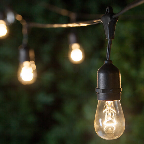 Commercial Patio String Lights, Clear S14 Bulbs, Suspended