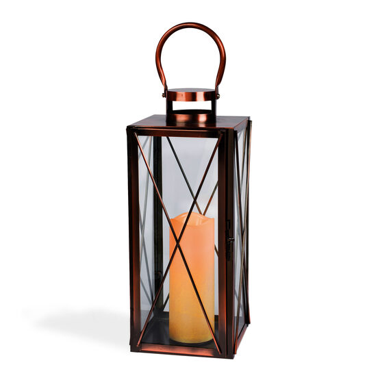 Rectangular Copper Candle Lantern