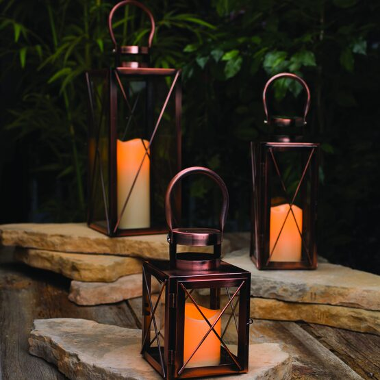 Copper Outdoor Hanging Candle Lantern Yard Envy