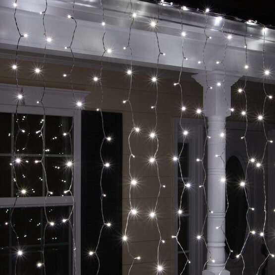 "LED Curtain Lights, 66"" Drops, Cool White 5mm Lights, White Wire"