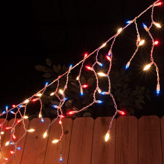 150 Icicle Lights Red White And Blue White Wire Yard Envy