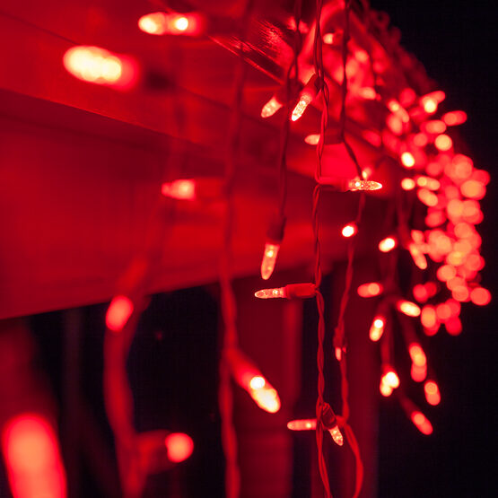 70 M5 LED Icicle Lights, Red, White Wire