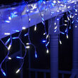 70 M5 LED Icicle Lights, Blue/White, White Wire