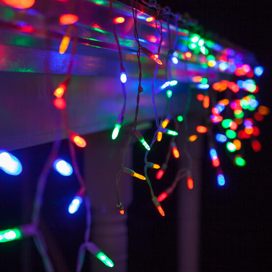 70 M5 LED Icicle Lights, Multicolor, White Wire