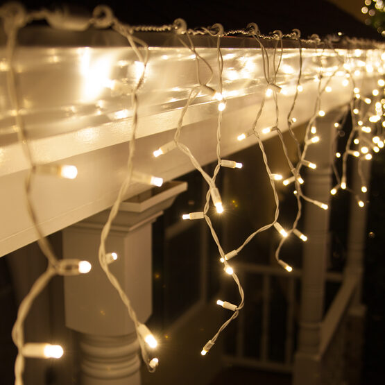 70 5mm LED Icicle Lights, Warm White, White Wire