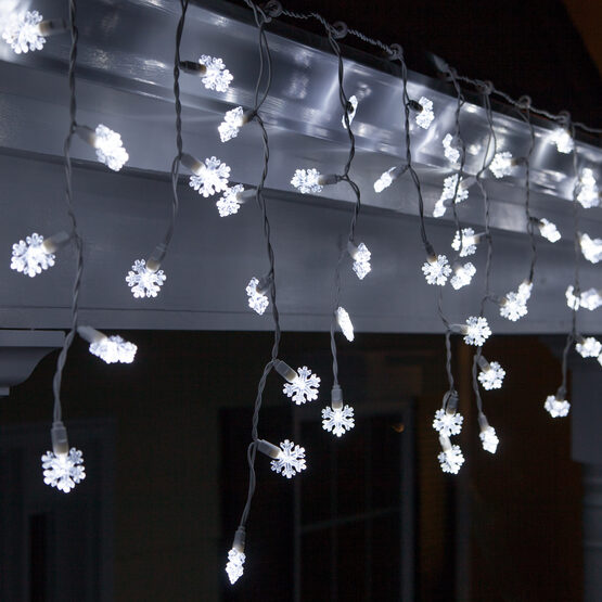70 Snowflake LED Icicle Lights, Cool White, White Wire