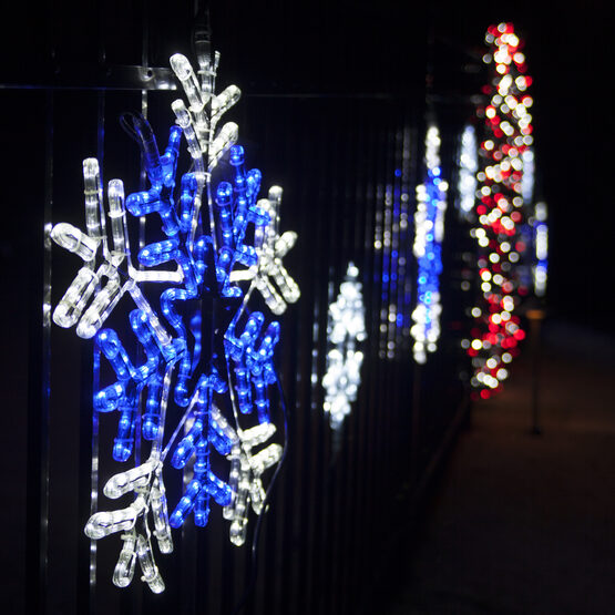 """26"""" LED Snowflake with Blue Center, Blue and White Lights"""