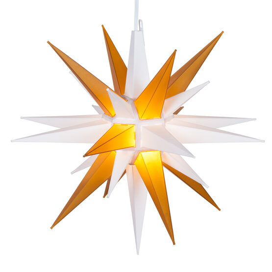 Lighted Moravian Star, Gold and White LED