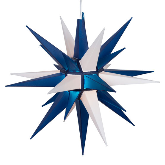 Lighted Moravian Star, Blue and White LED