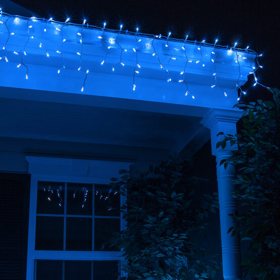 100 Icicle Lights, Blue, White Wire