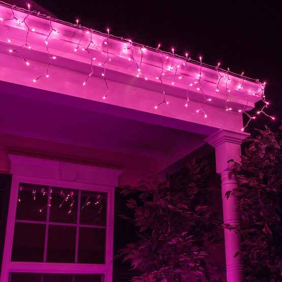 150 Icicle Lights, Purple, White Wire
