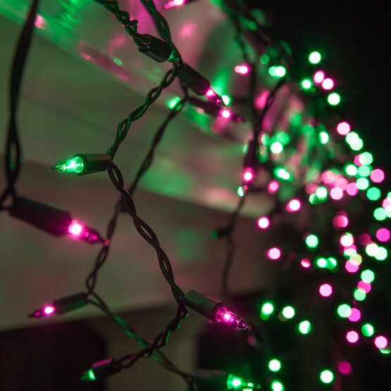 150 Icicle Lights, Purple/Green, Black Wire
