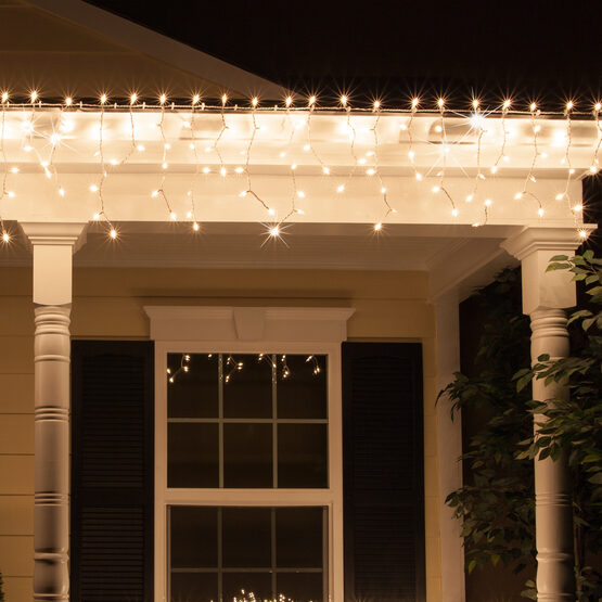 150 Icicle Lights, Clear Twinkle, White Wire