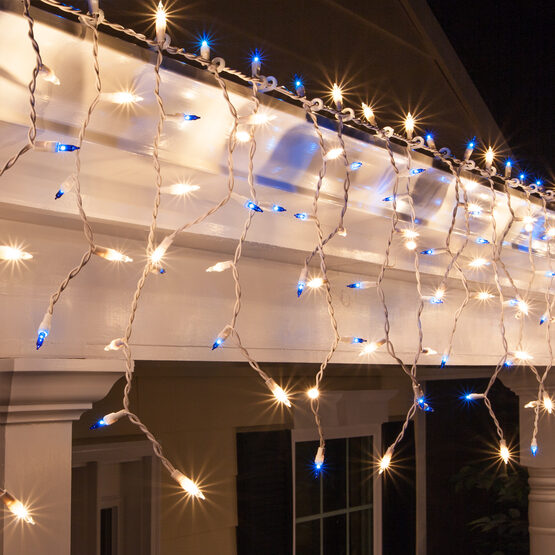 150 Icicle Lights, Blue/Clear, White Wire