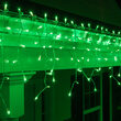 150 Icicle Lights, Green, White Wire