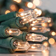 Battery Operated String Lights, Clear, Green Wire