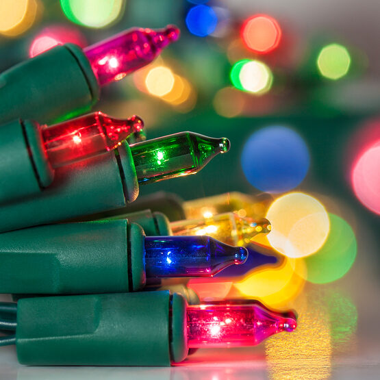 Battery Operated String Lights, Multicolor, Green Wire