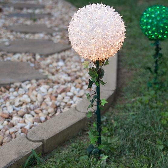 Backyard Twinkle Lights: Light Sphere Stake, Clear Twinkle