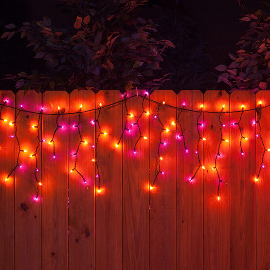 150 Halloween Icicle Lights, Purple/Orange, Black Wire