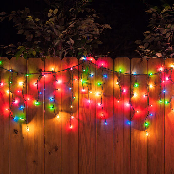 100 Icicle Lights, Multicolor, Green Wire