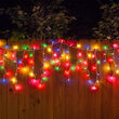 150 Icicle Lights, Multicolor, White Wire