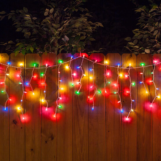 100 Icicle Lights Multicolor White Wire Yard Envy