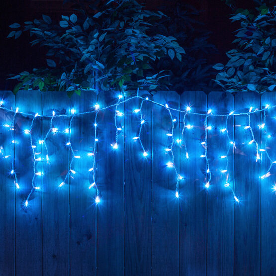 100 Icicle Lights Blue White Wire Yard Envy
