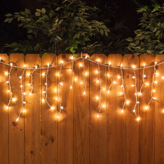 150 Icicle Lights, Clear, White Wire
