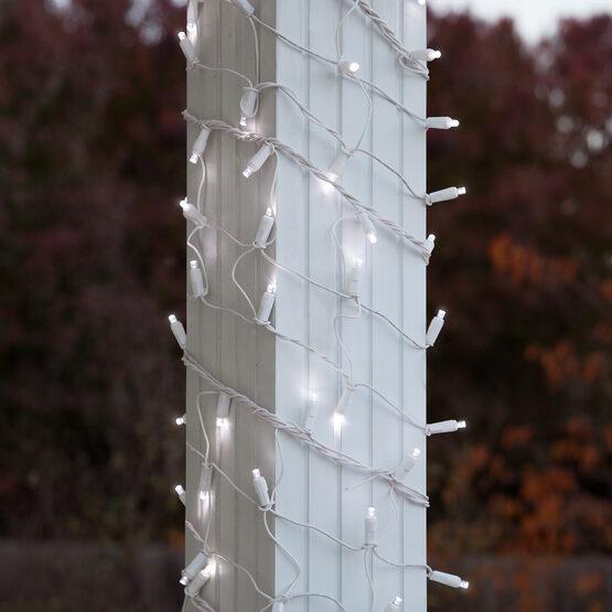 "LED Column Wrap Lights, 6"" x 15', Cool White, White Wire"