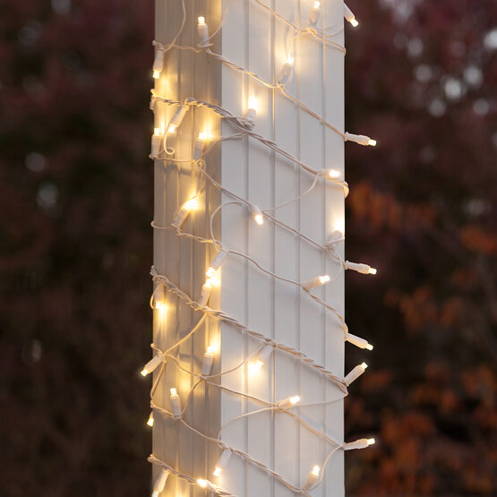 "LED Column Wrap Lights, 6"" x 15', Warm White, White Wire"