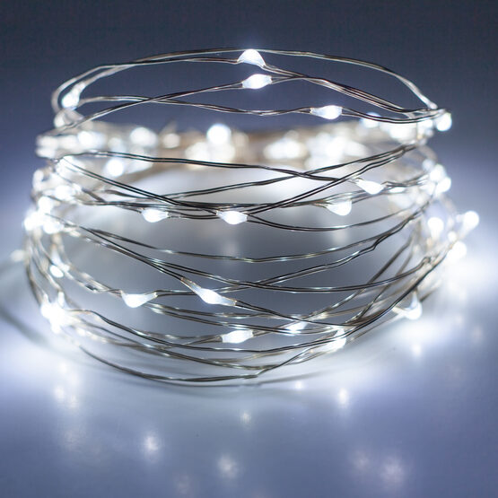 10' LED Fairy Lights, Cool White, Silver Wire