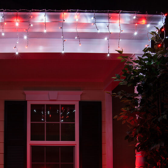 70 5mm LED Icicle Lights, Red/Cool White, White Wire - Yard Envy