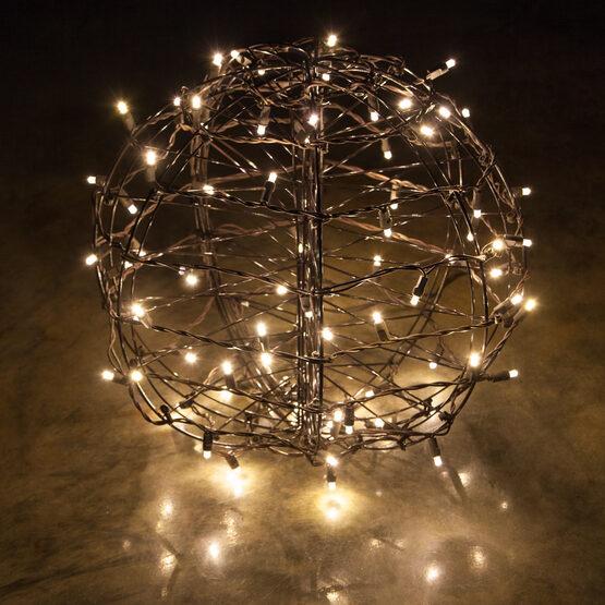 Light Ball, Fold Flat Brown Frame, Warm White LED