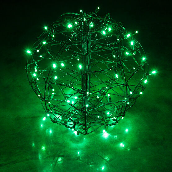 Light Ball, Fold Flat Brown Frame, Green LED