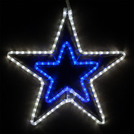 LED Double 5 Point Star, Blue and Cool White Lights