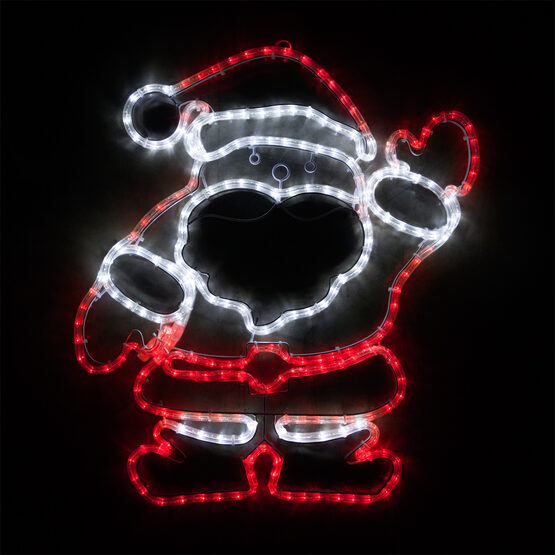 Waving Santa, Red and White Lights