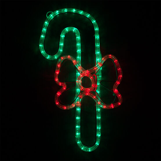 LED Candy Cane with a Bow, Red and Green Lights