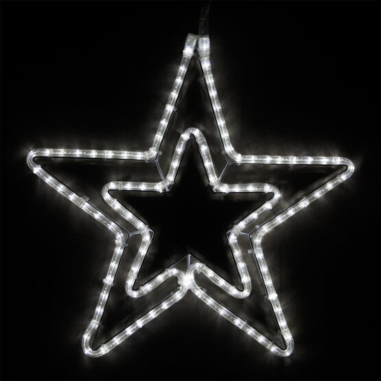 LED Double 5 Point Star, Cool White Lights
