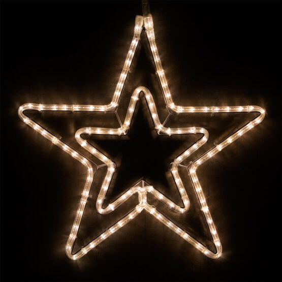 LED Double 5 Point Star, Warm White Lights