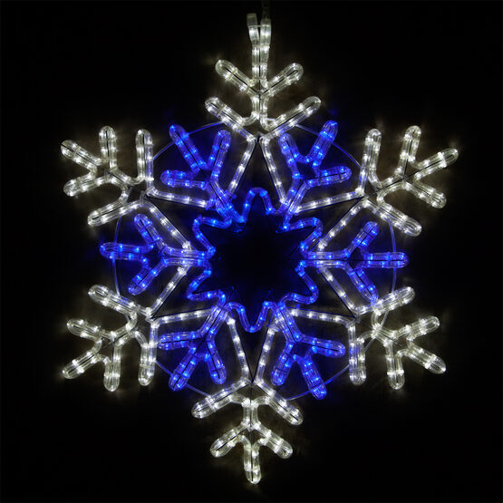 48 Point Star Center Snowflake, Blue and Cool White Lights