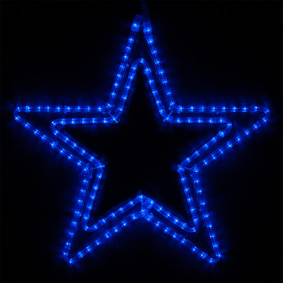 Double 5 Point Star, Blue Lights