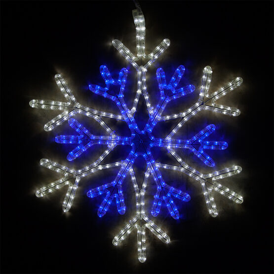 LED 36 Point Star Center Snowflake, Blue and Cool White Lights