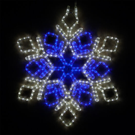 Double Diamond Snowflake, Blue and Cool White Lights