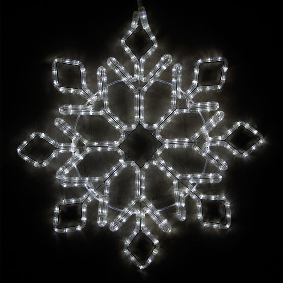 LED Diamond Tipped Snowflake, Cool White Lights