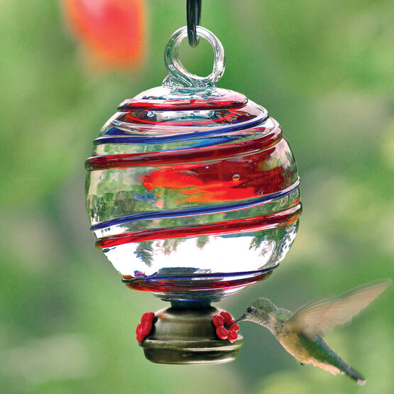Blue And Red Stripe Dew Drop Glass Hummingbird Feeder