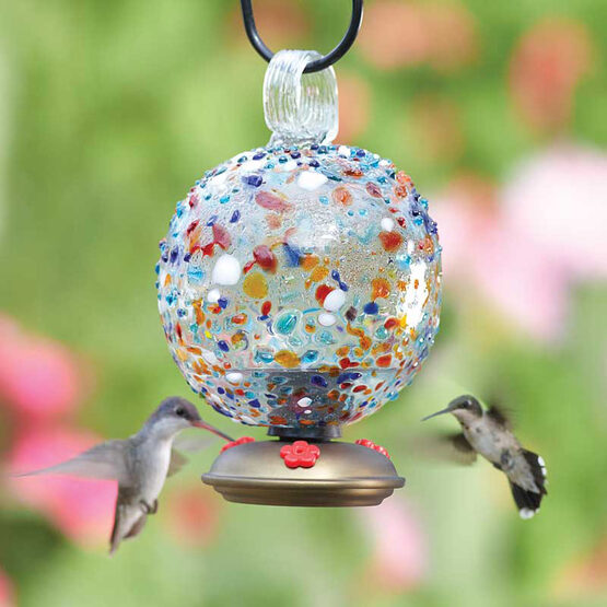 Sprinkles Multicolor Dew Drop Glass Hummingbird Feeder