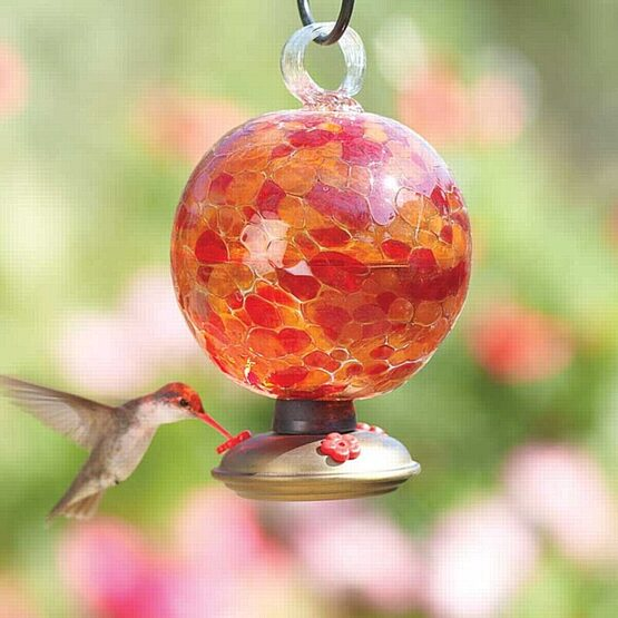Cinnabar Dew Drop Glass Hummingbird Feeder