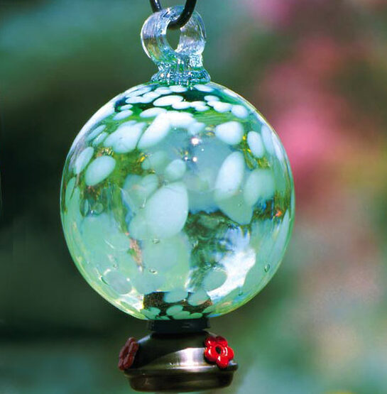 Green Dew Drop Glass Hummingbird Feeder